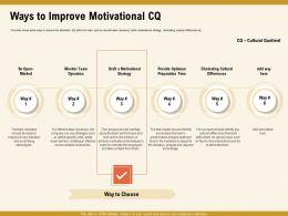 Ways To Improve Motivational CQ Provide Optimum Ppt Powerpoint Presentation Ideas Skills