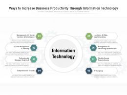 Ways To Increase Business Productivity Through Information Technology