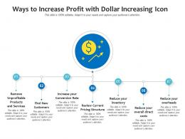 Ways To Increase Profit With Dollar Increasing Icon