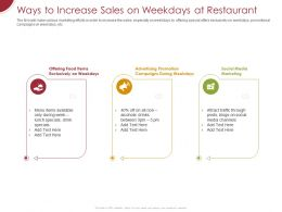 Ways To Increase Sales On Weekdays At Restaurant Ppt Powerpoint Presentation Ideas Topics