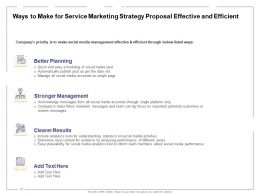 Ways To Make For Service Marketing Strategy Proposal Effective And Efficient Ppt Powerpoint Presentation File Deck