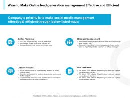 Ways To Make Online Lead Generation Management Effective And Efficient Ppt Powerpoint