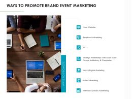 Ways To Promote Brand Event Marketing Ppt Powerpoint Presentation Outline Background