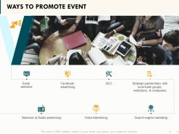 Ways To Promote Event Ppt Powerpoint Presentation Visual Aids Portfolio