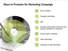 Ways To Promote For Marketing Campaign Local Trade Ppt Presentation Visual Aids