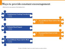 Ways To Provide Constant Encouragement Occasional Brief Ppt Powerpoint Presentation Tips