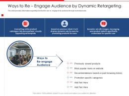 Ways To Re Engage Audience By Dynamic Retargeting Popular Items Ppt Icons