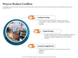Ways To Reduce Conflicts Meetings Ppt Powerpoint Presentation Icon Designs