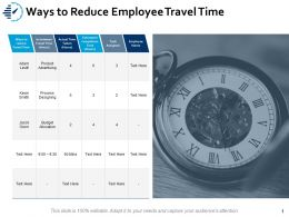 Ways To Reduce Employee Travel Time Budget Ppt Powerpoint Presentation Styles Topics