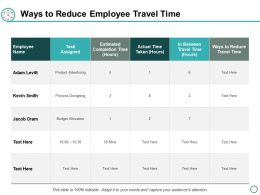 Ways To Reduce Employee Travel Time Ppt Powerpoint Presentation Layouts Master Slide