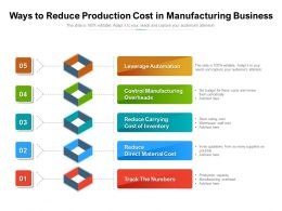 Ways To Reduce Production Cost In Manufacturing Business