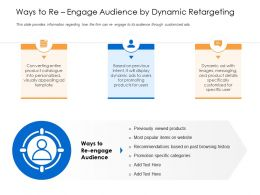Ways To Reengage Audience By Dynamic Retargeting Browsing Items Ppt Icons