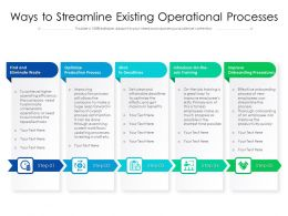 Ways To Streamline Existing Operational Processes