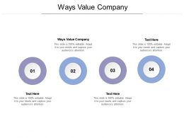 Ways Value Company Ppt Powerpoint Presentation Icon Format Ideas Cpb