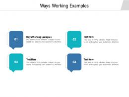 Ways Working Examples Ppt Powerpoint Presentation Visual Aids Deck Cpb