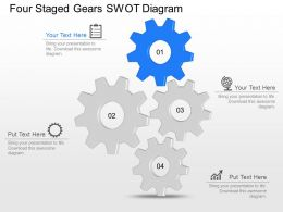 Wb Four Staged Gears Swot Diagram Powerpoint Template