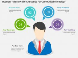 wc_business_person_with_four_bubbles_for_communication_strategy_flat_powerpoint_design_Slide01