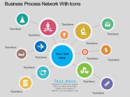 wd Business Process Network With Icons Flat Powerpoint Design