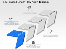 Wd Four Staged Linear Flow Arrow Diagram Powerpoint Template