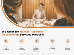 We Offer For Human Resource Outsourcing Services Proposal Ppt Powerpoint Presentation