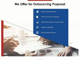 We Offer For Outsourcing Proposal Ppt Powerpoint Presentation Visual Aids Deck