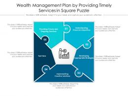 Wealth Management Plan By Providing Timely Services In Square Puzzle