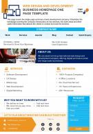 Web Design And Development Business Homepage One Page Template Presentation Report Infographic PPT PDF Document