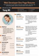 Web Developer One Page Resume Presentation Report Infographic PPT PDF Document