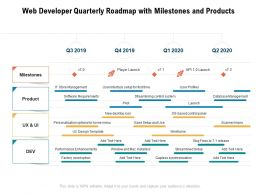 Web Developer Quarterly Roadmap With Milestones And Products