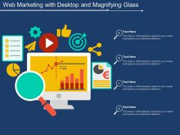 Web Marketing With Desktop And Magnifying Glass