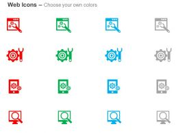 Web Tools Gear Wrench Data Search Ppt Icons Graphics