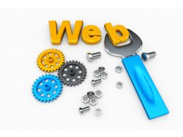 Web Word With Gears For Web Building Process Stock Photo