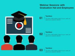 Webinar Sessions With Graduation Hat And Employees
