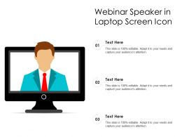 Webinar Speaker In Laptop Screen Icon