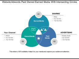 Website Adwords Paid Owned Earned Media With Intersecting Circles