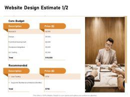 Website Design Estimate Price Ppt Powerpoint Presentation Ideas Guide