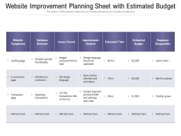 Website Improvement Planning Sheet With Estimated Budget