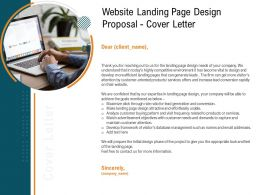 Website Landing Page Design Proposal Cover Letter Ppt Powerpoint Presentation Infographics Clipart