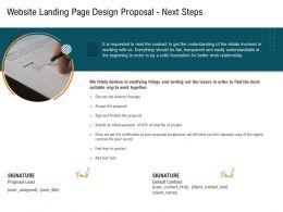 Website Landing Page Design Proposal Next Steps Ppt Powerpoint Presentation Pictures Portrait