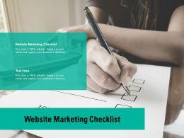 Website Marketing Checklist Ppt Powerpoint Presentation Infographics Skills Cpb