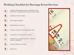 Wedding Checklist For Marriage Event Services Ppt Powerpoint Presentation Model