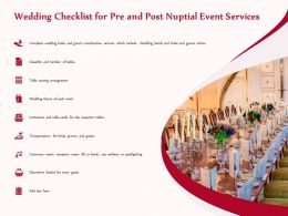 Wedding Checklist For Pre And Post Nuptial Event Services Ppt Infographics