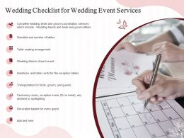Wedding Checklist For Wedding Event Services Ppt Powerpoint Presentation Icon