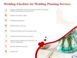 Wedding Checklist For Wedding Planning Services Ppt Icon Designs