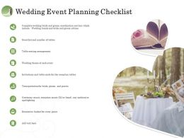 Wedding Event Planning Checklist Ppt Model