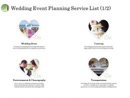 Wedding Event Planning Service List Catering Ppt Clipart