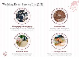 Wedding Event Service List Ppt Powerpoint Presentation Layouts Microsoft