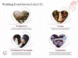 Wedding Event Service List Ppt Powerpoint Presentation Model Icons