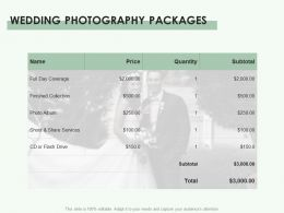 Wedding Photography Packages Ppt Powerpoint Presentation Gallery Elements
