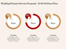 Wedding Planner Service Proposal 30 60 90 Days Plan Ppt Powerpoint Presentation File